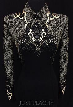 Jet Black and Gold Western Horsemanship Shirt by DarDar8 Designs ~ Just Peachy