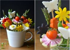 idées repas anniversaire pour enfant: vase de fleurs en légumes