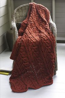 Celebrate the fall with this leaf lace afghan. (Lion Brand Yarn)