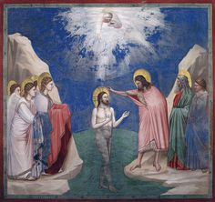 Scenes from the Life of Jesus Christ: Baptism of Christ / Bautismo de Jesucristo // 1304-1306 // Giotto di Bondone // Fresco / Cappella Scrovegni (Arena Chapel), Padua