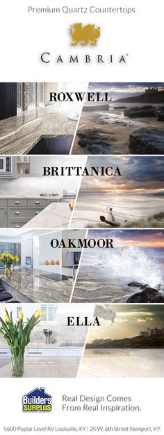 Quartz is a stunning choice for your kitchen or bathroom countertops. See where the inspiration from 4 amazing new Cambria Colors comes from. Quartz is heat and scratch resistant, never requires sealing, and is very low maintenance!