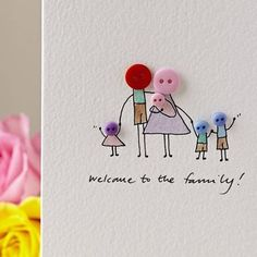 I've just found Personalised 'Button Family' Hand Illustrated Card. A delightful, hand illustrated 'Button Family' card. Button Family, Tarjetas Diy, Personalized Buttons, Button Cards, New Baby Cards, Diy Cards Baby, Baby Shower Cards, Hand Illustration, Watercolor Cards