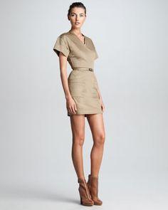 Victoria Beckham:  Fitted V-Neck T-Shirt Dress