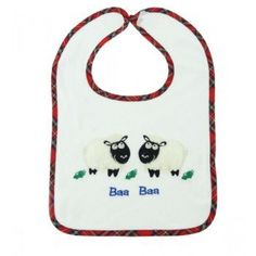 Baa Baa Sheep terry cloth bib . . Sold by TartanPlusTweed.com A family owned kilt and gift shop in the Scottish Borders