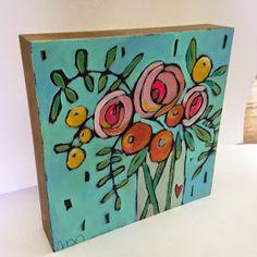 Jenni Horne : Adoption Fundrasier for the Jupin Family – Kuns diere – acryl Folk Art Flowers, Abstract Flowers, Flower Art, Painting Flowers, Art Floral, Mini Paintings, Art Party, Painting Inspiration, Diy Art