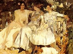 "Joaquin Sorolla ""My Wife and Daughters in the Garden""  Lili, you know they're discussing how the yard got that way."