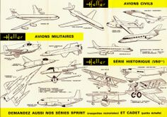 Catalogue Heller - 1966 Air France, Model Jet Engine, Sud Aviation, Catalog, Aircraft, Airplane, Posters, Ads, Military Aircraft