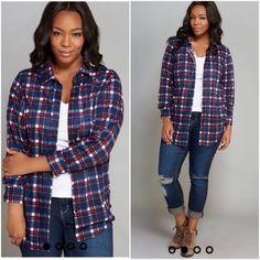 NWT plaid knit boyfriend shirt- Plus Brand new Tops Button Down Shirts