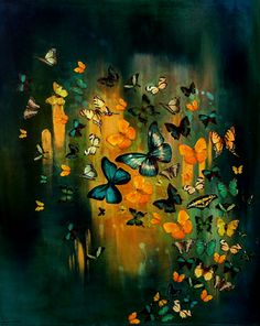 """Saatchi Art Artist Lily Greenwood; Painting, """"SOLD Butterflies on Deep Blues and Greens"""" #art"""