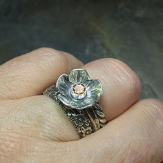 Sterling silver flower ring with citrine by LavenderCottage