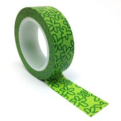Green Flowers Patterned Washi Tape 15mm x 10m Roll WT0075 £1.80