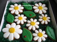 @kozuli_com // Daisy cookies / Flowers cookies // Summer Cookies / Mother's Day Cookies / Royal icing cookies. Decorated cookies.More cookie decorating ideas and video tutorials at www.kozuli.com / Видео мастер-классы на www.kozuli.com