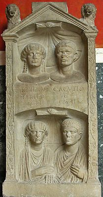 Portraits of Etruscan couple in their later years (top) and earlier at their marriage, 1st ct A.D. Rome