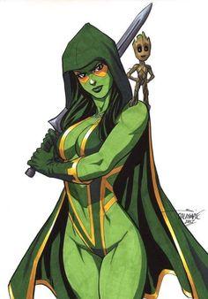 Gamora Guardians of the Galaxy Thanos Groot Rocket Racoon Avengers original art Marvel Dc Comics, Comics Anime, Marvel Art, Marvel Heroes, Marvel Avengers, Comic Book Characters, Comic Character, Comic Books Art, Comic Art