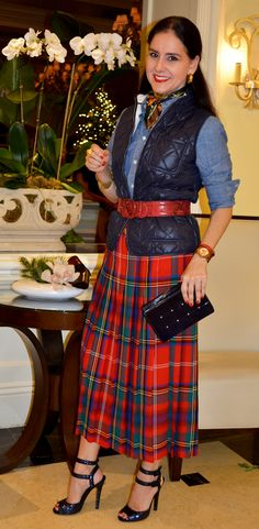 Susana Fernandez | A Key to the Armoire | Holiday Outfit Inspiration | Tartan Skirt | Plaid Skirt | Glitter Sandals | quilted vest | chambray and tartan | Jord Watches |wood watches | Talbots | Ralph Lauren | Gucci | Christmas Outfits | Pleated Skirt | Holiday Style | Red | Navy Blue