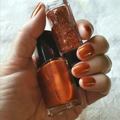 Avon Nailwear Pro in Lucky Penny and Dazzlers top coat in Show Stopper Copper.  https://www.avon.com/category/makeup/nails?rep=amyjogarner