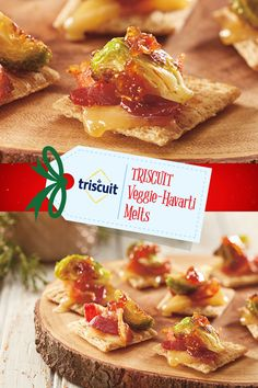 These mouth watering TRISCUIT Veggie-Havarti Melts will be favorite for the holidays. Find this #NabiscoHolidayRecipe and more at www.snackworks.com Thanksgiving Appetizers, Christmas Appetizers, Chili's Chicken Enchilada Soup, Vegetarian Bacon, Delicious Desserts, Yummy Food, Holiday Recipes, Holiday Treats, Diabetic Recipes