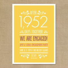 "Fun Engagement Party Invite. Tell them how long you have been together, every day counts!  Printable Engagement Party Invitation ""Counting the Days"" by TheNiaDesigns, $30.00"