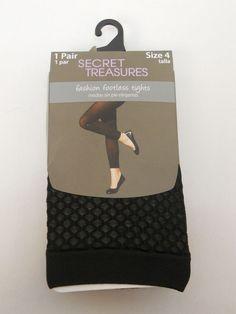 Women Footless Tights PLUS SIZE 4 Solid Black No Bind Waistband SECRET TREASURE #SecretTreasures #Footless