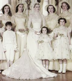 Princess Grace of Monaco with her bridal party on her wedding day, April 19, 1956.To fulfill the requirements of the Napoleonic Code of Monaco and the laws of the Roman Catholic Church, Grace Kelly and Prince Rainier had both civil and religious weddings. The 16-minute civil ceremony took place in the Palace Throne Room of Monaco on April 18, 1956, and a reception later in the day was attended by 3,000 Monaco citizens. The following day the church ceremony took place at Monaco's Saint…