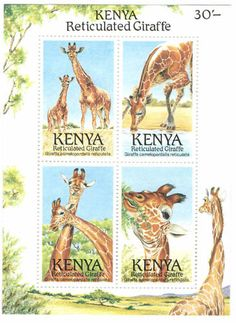 Kenya stamps MNH Giraffes Endangered Animals Fauna 1989