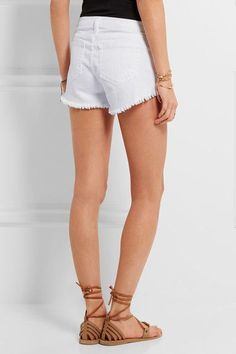 L'Agence - Zoe Frayed Stretch-denim Shorts - White - 29