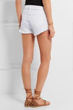 L'Agence - Zoe Frayed Stretch-denim Shorts - White - 29