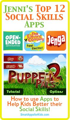 Jenni's Top 10 (or 12) Apps for Social Skills! Newly updated! These apps come highly recommended by Jenni, a staffer who happens to be a speech language pathologist, so she knows her stuff. Good for home or school use, these apps are full of what your kiddo needs to work on those all-important social skills. http://www.smartappsforkids.com/2014/06/j.html