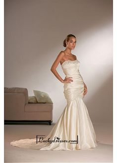 Beautiful Elegant Exquisite Satin Mermaid Strapless Beaded Wedding Dress In Great Handwork