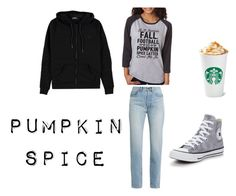 """""""My Pumpkin Spice outfit"""" by samanthastyle-cdxxi ❤ liked on Polyvore featuring Yves Saint Laurent, SignatureTshirts, Converse, Voi Jeans and pss"""