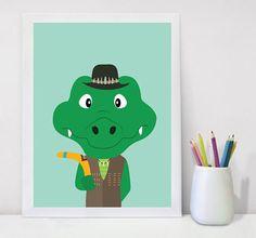 Australian Nursery   Crocodile Print Crocodile Art, Printable Art Kids Decor, Nursery Decor Wall Art, TarquinAndTroops, Instant Download, Digital Download, Kids