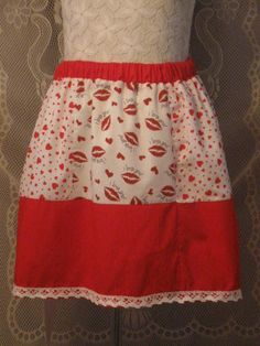 Custom Made Valentine Skirt with Hearts and Lips and by HappyRagz