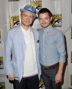 Arthur Dent and Frodo! I mean Dr. Watson and Ryan (from Wilfred)! I mean Frodo and Bilbo!? Awesome!     From IMDB: Elijah Wood and Martin Freeman at event of The Hobbit: An Unexpected Journey