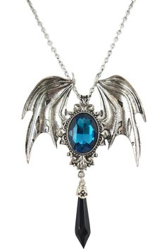 This amazing Pendant is made of durable metal in antique silver color (pewter). It features gorgeous large dragon wings with a black or Cyan faceted stone. There is a faceted black faux Quartz Crystal