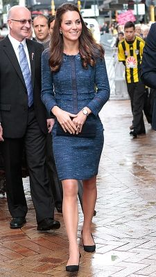 APRIL 16, 2014 Middleton chose a navy Rebecca Taylor tweed skirt suit with an embellished collar for her last day in New Zealand on the Royal Tour, which she accessorized with Prada pumps in the same hue.