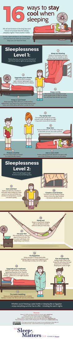 How to Fall Asleep When It's So Freakin' Hot --  16 Ways To Stay Cool When Sleeping [Infographic] :  huffpost healthy living