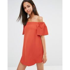 Missguided Bardot Shift Dress ($43) ❤ liked on Polyvore featuring dresses, rustex, missguided dress, off shoulder dress, tall dresses, red orange dress and red loose dress