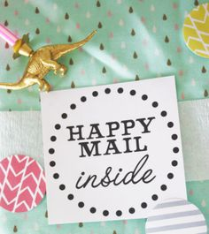 Set of 50 Happy Mail Inside - YOU PICK up to 3 colors