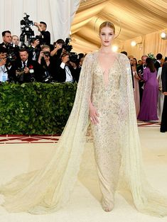 Rosie Huntington-Whiteley wears a caped Ralph Lauren Collection gown with lace and Swarovski crystals. Crystal Gown, Victorian Gown, Ralph Lauren, Costume Institute, Red Carpet Looks, Bridal Looks, Designer Wedding Dresses, Playing Dress Up, Pretty Dresses