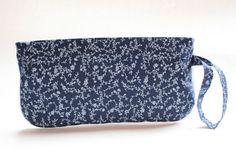 Wristlet Clutch Purse - Navy Blue Floral by LovelyTurtle on Etsy, $22.00
