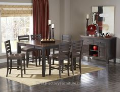 NATICK COUNTER HEIGHT DINING COLLECTION - Instantly inviting, the Natick Collection provides a conservative modern look to your casual dining space. The acacia veneered group is finished in a two-tone warm espresso and light brown Finish. Table features clipped corner top and self-storing Butterfly leaf.