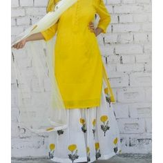 Yellow Marigold block print Sharara Set