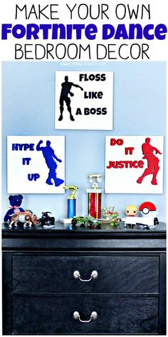 Is your kid obsessed with Fortnite? When we separated him and his brother into two bedrooms, I created this DIY Fortnite dance art to decorate his new solo room! Bedroom Themes, Diy Bedroom Decor, Home Decor, Bedroom Ideas, Decor Diy, The Sims, Boys Room Decor, Boy Room, Cozy Bedroom