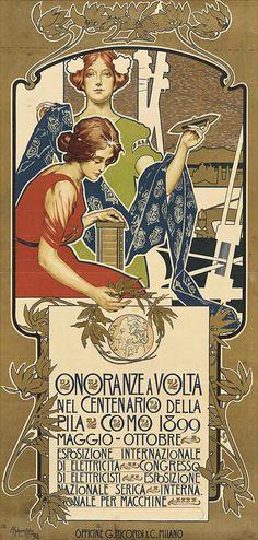 ADOLF HOHENSTEIN 1854-1928 Onoranze a Volta 1899 G. Ricordi, Milano. Litografia a colori. Telato