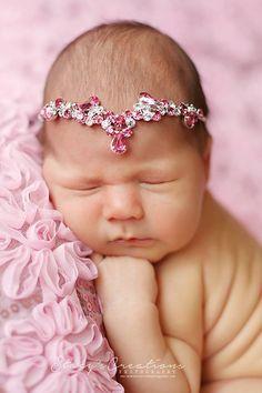 Sari Pink Rhinestone Headband, Newborn Tie Back,  Baby Headband, Baby Halo Baby, Rhinestone Crown Photo Prop, Newborn Photo Prop