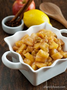 Apple Pear Compote - delicious served warm over ice cream for dessert, or served as a side dish with pork or chicken.