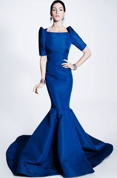 Zac Posen Pre-Fall 2012 Fashion Show Collection: See the complete Zac Posen Pre-Fall 2012 collection. Look 31 Fashion Week, Love Fashion, Fashion Show, Runway Fashion, Style Fashion, Zac Posen, Blue Wedding Dresses, Blue Dresses, Dresses 2014