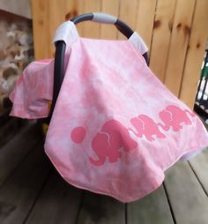 Baby Girl Infant Carseat Canopy  Pink Elephants on by MoMoPics, $25.00 (probably not elephants though)