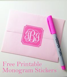 Free printable monogram stickers - download the file, enter in your monogram and print! #monogram #printable