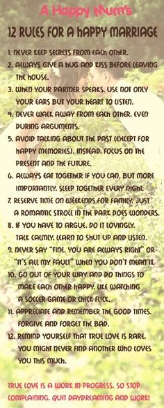 Marriage rules. These are great, especially never leaving the house without a kiss!! #MarriageRules
